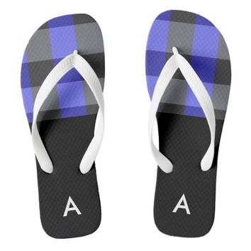 Plaid Black, Blue and White Personalized Sandals