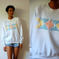 Vtg Pastel Tribal Printed White Cotton Sweatshirt