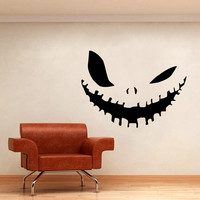 Wall Decal Vinyl Sticker Decals Art Home Decor Design Mural Evil Smile Pumpkin Horror Halloween Dorm Window Graphic Office Decal AN168