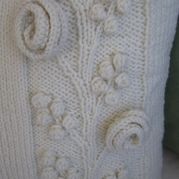 MADE TO ORDER  Climbing rose hand knit aran by LadyshipDesigns