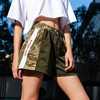 Women Fashion Camouflage Print High Waist Letter Stitching Shorts Leisure Pants