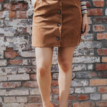 Anita Corduroy Button Skirt, Camel
