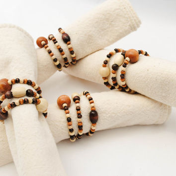 Nougat and Coffee Napkin Rings - Wooden Beads - Set of Four - Beaded Napkin Holders - Earthy Wood Tones