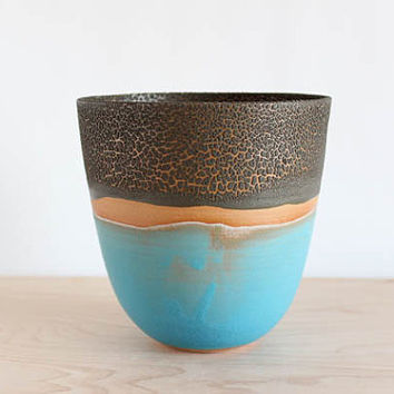 Decorative landscape bowl, turquoise vessel, aqua and brown crackle pottery vase, julia paul pottery