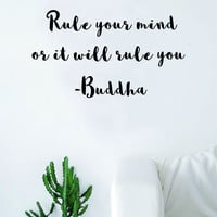 Rule Your Mind Wall Decal Sticker Room Art Vinyl Beautiful Yoga Hamsa Namaste Lotus Meditate Buddha Peaceful Love Inspirational