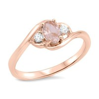 Sterling Silver Rose Gold Plated Oval Simulated Morganite Ring