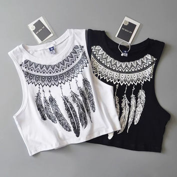 Hot Bralette Beach Sexy Comfortable Stylish Summer Round-neck Feather Print Sleeveless T-shirts Vest [6332302148]