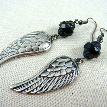 Silver Wing Earrings - Black and Silver Earrings - Antiqued Silver Wings with Black Turbine Picasso Bead - Casual Earrings for Everyday