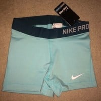 Nike Pro Combat Compression Shorts Women's Training Light Blue NWT 589364-466