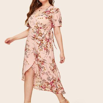 Plus Floral Print Wrap Knotted Dress