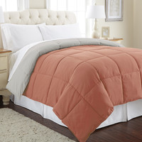 Down alternative reversible comforter Cinnamon/Grey Queen