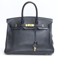 HERMES Birkin 35 Handbag Togo leather Black Used / hand bag Vintage Men/Women