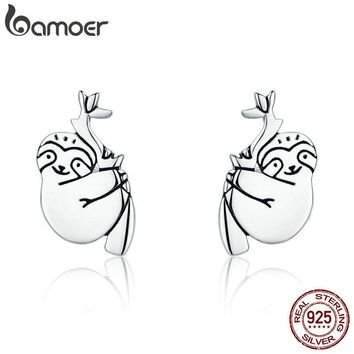 BAMOER Hot Sale 100% 925 Sterling Silver Lovely Sloth Animal Small Stud Earrings for Women Sterling Silver Jewelry S925 SCE327