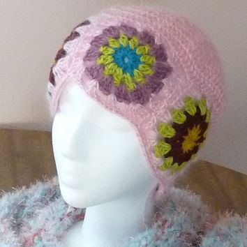 OOAK Handmade Flower Patchwork Pink Hat made with Vintage Mohair yarn SALE - ready to ship - unique design by AnnaArt72
