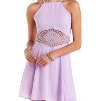 Crochet-Waist Chiffon Skater Dress by Charlotte Russe