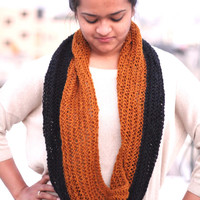 Black Brown Infinity Scarf - Hand Knitted Black Brown Scarves -Spring Collection- Easter Scarves-Brown Infinity Scarf - Spring Scarves