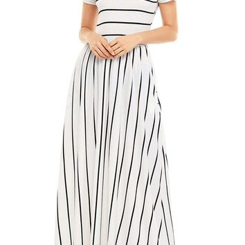 Black White Striped Short Sleeve Maxi Dress