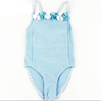 Girls Swimwear cute baby girl bathing suit children one piece girl swimsuit blue striped swim costume for girls kids 6M-11T