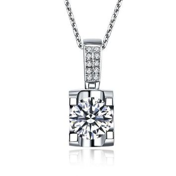 Tested 18K White Gold Wedding Pendants Luxury 1Ct Diamond Engagement Pendant Necklace accessories for women free Chain