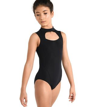 Danz N Motion Girls Black Mock Turtleneck w/ Zipper Back Leotard