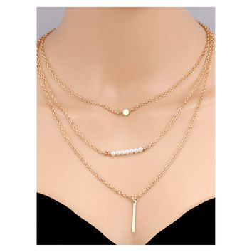 Gold Faux Pearl Bar Pendant Delicate Layered Necklace