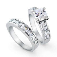 Bling Jewelry 2ct. CZ Princess cut Engagement Wedding Ring Set Sterling Silver