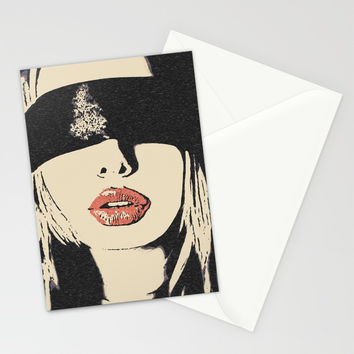 Red Lips - sexy girl blindfolded, sensual erotic, BDSM slave woman, fetish mask, beautiful blonde Stationery Cards by Peter Reiss