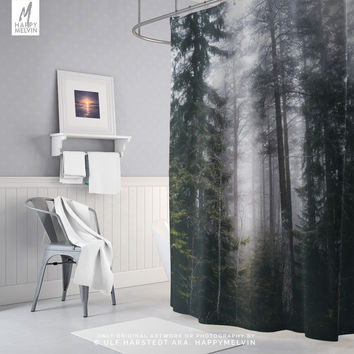 Foggy Forest Shower Curtain | Forest Bath Curtain | Nature Photography | Bohemian Shower Curtain | Boho Bathroom Decor | Dorm Room Shower