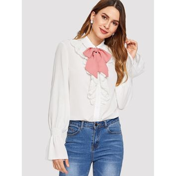 Contrast Tied Neck Eyelet Embroidery Ruffle Blouse