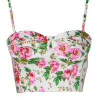 White Pink Floral Crop Top Bralet