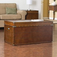 Steamer Storage Trunk Cocktail Table, Walnut Finish By Southern Enterprises