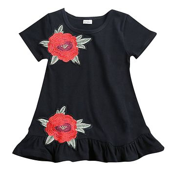 Kids Girls Clothing Short Sleeve Rose Floral  Dress Pageant Princess Party Dresses