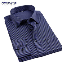 2014 spring autumn new business casual cotton long sleeve turn-down collar striped men dress shirt 027 / men clothes