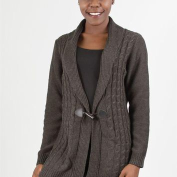 ONETOW Lea 4RT260N Cable Knit Sweater PlusSize Cardigan