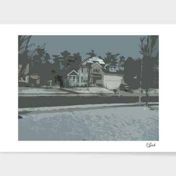 «Snowy Neighborhood» Art Print by Casey Bell - Exclusive Edition from $24.9 | Curioos