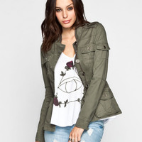 Full Tilt Womens Shirt Jacket Olive  In Sizes
