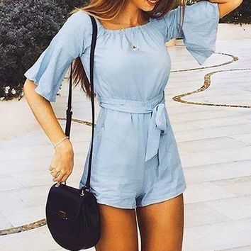 Sexy Off Shoulder Flare Sleeve Fitted Waist Rompers