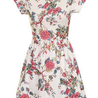 Short Sleeved Floral Print Dress