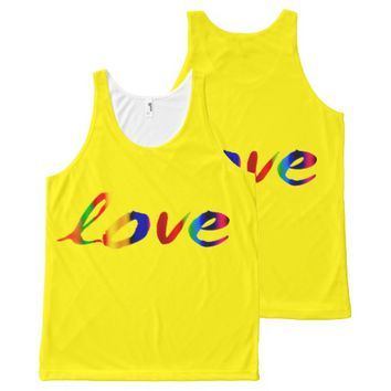 funky love t shirt bright colorful yellow All-Over print tank top