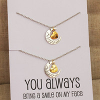 You Always Bring a Smile to my Face Love you Mom Love You Daughter Two Necklaces Gift Wrapped Fashion Gift Card Necklaces