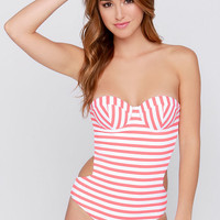 Daniela Coral and White Striped One Piece Swimsuit