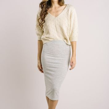 Monica Oatmeal Knit Midi Skirt