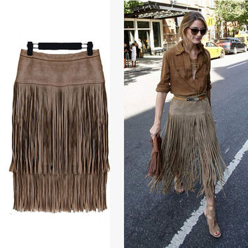 Fashion 2015 New Heavy Hierarchical High Waist Straight Leather Skirt Fringed Suede Tassel Saias Skirts Womens S~2XL