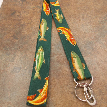 Fish Lanyard Trout Lanyard Teacher Lanyard Fishing Lanyard Fathers Day Lanyard Trout Fishing Sportsmans Lanyard Fishing Key Ring