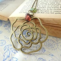 Necklace Antique Brass Filigree Rose Coral Artfire Handmade Gifts | LittleApples - Jewelry on ArtFire