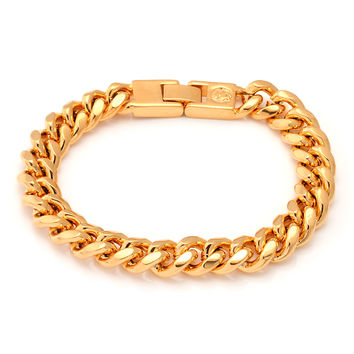 10mm 18K Gold Miami Cuban Chain Bracelet