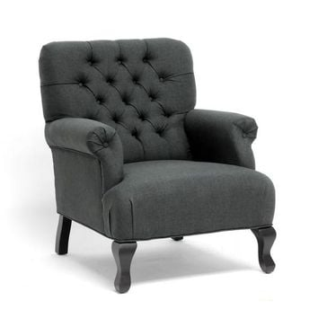 Baxton Studio Gray Linen Club Chair