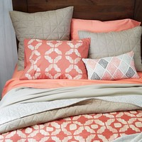 Ikat Tile Duvet Cover, King, Cherry Cola