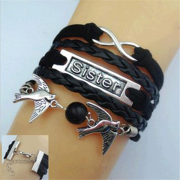 2017 New Womens Fashion Vintage Anchors Rudder Rectangle Leather Bracelet Multilayer Charm Bracelets Best Valentine's Day Gift