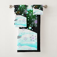 "Snowman ""Merry Christmas"" personalised Bath Towel Set"